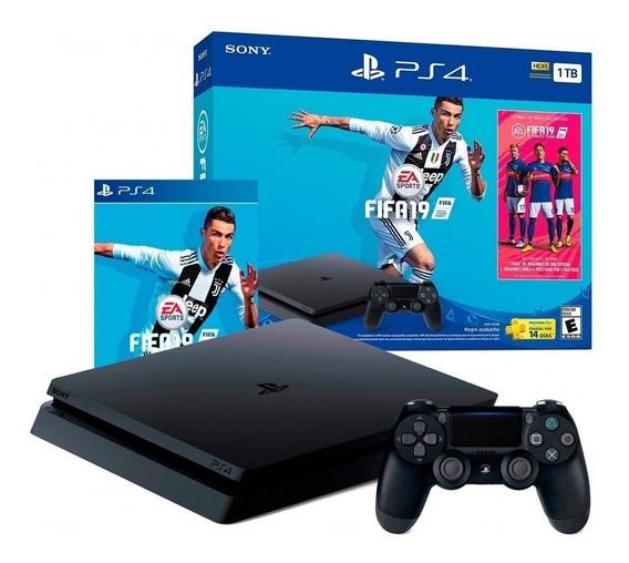 Playstation 4 Ps4 Slim 1tb Nuevo + Juego Físico Fifa 19 2019