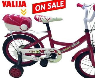 Bicicleta Con Rueditas Trae Valija Y Canasto C/ Timbre