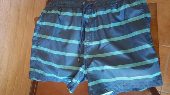 Short De Baño Nuevo Pull & Bear Talle S, Azul Con Rallas