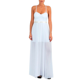Vestido De Gasa Con Bordado Y Detalles Con Lentejuela V-0047