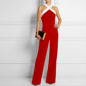 Palazzo Jumpsuit Elegante Contraste De Color Tendencia Body