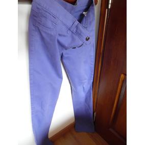 Pantalon Jean Dama Color Violeta Claro Talle 44 M/l