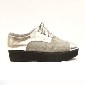 Zapato Acordonado De Dama Bellmur Color Gris Con Plateado
