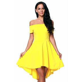 Sexy Vestido Strapless Amarillo M. Corta Moda Retro 61346