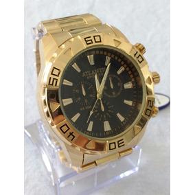 Relógio Dourado Masculino Original Atlantis G-3243 Sports.