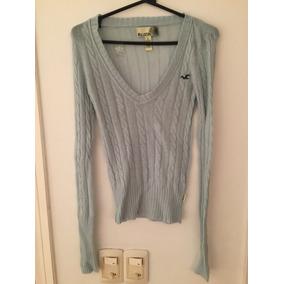 Suéter Mujer Sweater Hollister Hilo Algodón Celeste Básico 2c3c99069055