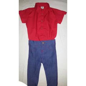 Conjunto Body Camisa Social Com Calça Jeans Bebê 1ano 50f8c4775bd