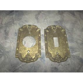 2 Plaquetas De Bronce Antiguas Macizas Para Llaves De Luz