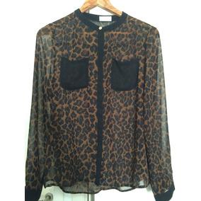 Camisa Animal Print Con Cuello Mao De Gasa