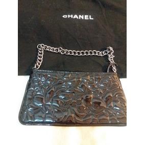 Cartera Clutch Chanel Autent. Certif. Camelia Charol Negro