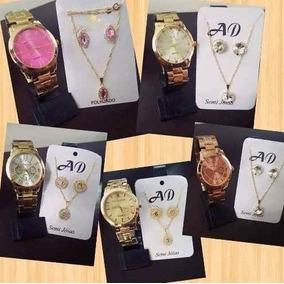 Kit Com 05 Relógios Feminino Atacado + Colar + Caixa Top
