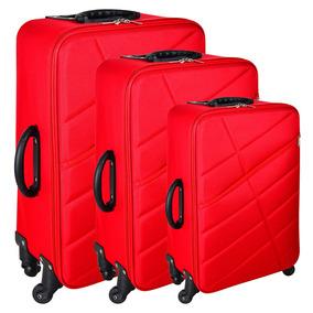 Set De 3 Valijas 4 Ruedas Color Rojo