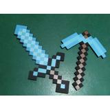 Kit Espada + Picareta Minecraft Diamante 45 Cm