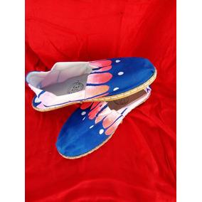 Alpargatas Artesanales 100% Original Azul Y Rosa