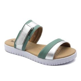 e4f9fe002 Sandália Feminina 271 Em Couro Jade/metalizado Prata Doctor por Doctor Shoes