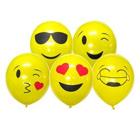 Combo 10 Globos Emoticón Emojis + 10 Varillas + Hilo
