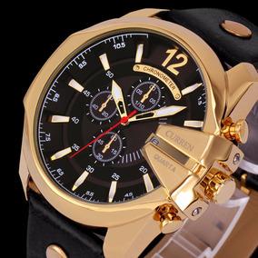 30846f75f29 Pulseira De Couro Rel%c3%b3gio Curren Dourado - Joias e Relógios no ...