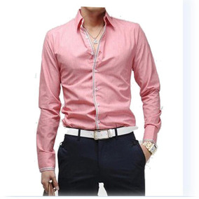 Camisas Slim Fit Formales One Stripe Night Shirt Envioinmedi