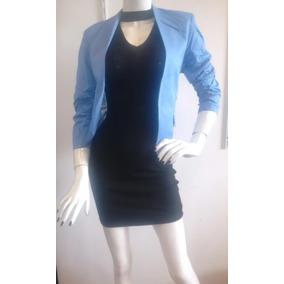 Hermoso Saco Azul Y Vestido Con Gargantilla Negro