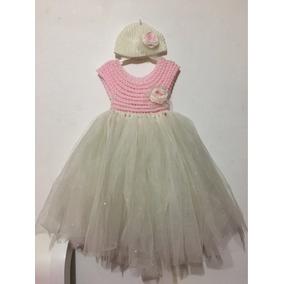 Vestido Tejido A Crochet Con Tul