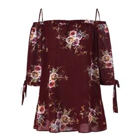 Más Tamaño Floral Frío Hombro Blusa