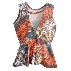 Blusa Feminina Peplum Estampada Com Tule Aberta Na Frente