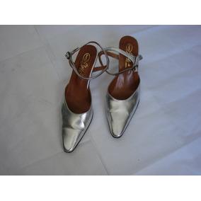 Sandalias De Vestir Plateadas Casi Sin Uso