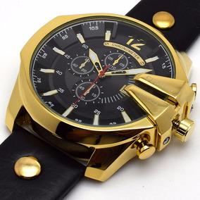 2fa1f42a813 Pulseira De Couro Rel%c3%b3gio Curren Dourado - Joias e Relógios no ...