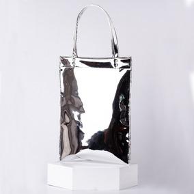 Bolso Tote Bag Plateado Espejo