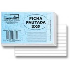 Ficha Pautada 3x5 São Domingos C/ 100fls - 100 Blocos