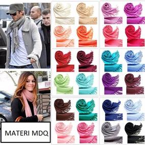 10 Pashminas Chalinas Lisas Con Flecos (x Mayor) 40 Colores