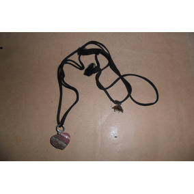 Corazon Corazoncito Piedra Rosada Colgante Collar Collarcito