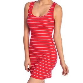 Vestido Rojo Corto De Rayas Blancas Marca Tt Blues Talla M