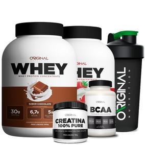 Kit Duplo Whey Protein Original + Bcaa + Creatina + Shaker