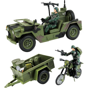 Jipe Militar De Transporte P/ Gi Joes 25th + Moto + Reboque