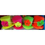 Sombrero Galera De Tela Fluo C  Flor Grande Para Quinceañera f80612fe42d