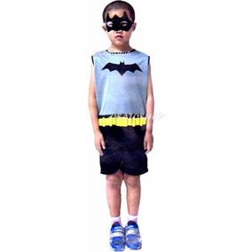 Fantasia Batman Roupa Infantil Curta Verão, Cosplay Heroi