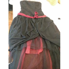 Vestido De Fiesta - De 15 Años- Negro Y Rojo Con Tull