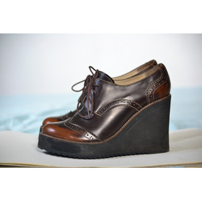 Zapatos Cuero Marco Donatti Plataforma Elegantes Acordonados