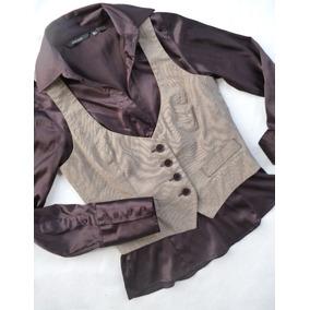 Camisa Seda Satén + Chaleco De Vestir Zara Basic Dama ce2672ea8c2c