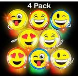 Paquete De 4 Emoji Yoyo - Light Up Caras - Sonriente Amarill