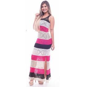Vestido Estampado Longo De Malha Tricot Trico Promoção