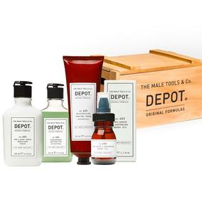 Caja Depot, Fluido 402, Gel Afeitado 406, Aceite Barba 403