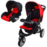 Coche Triciclo Con Baby Silla Bebesit Mod. Fox Color Rojo