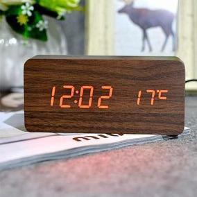 Relógio Digital Led Cabeceira Com Termômetro Estilo Madeira