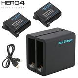 Paquete 2 Baterías Gopro Hero 4 Cargador Pilas Accesorios