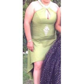 Hermoso Vestido De Fiesta, Escote Sexy, Verde, Talla Extra