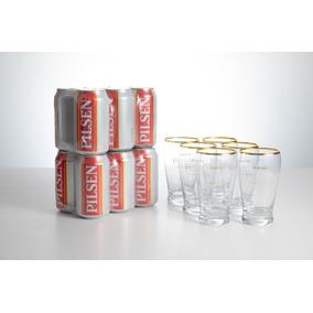 Cerveza Pilsen Lata 354 Cc X 12 + 6 Vasos
