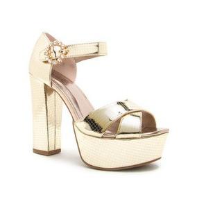 Zapato Mujer Plataforma Metálico Qupid Broche Color Champaña