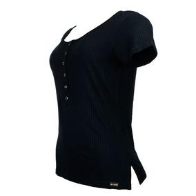 Blusa Preta Camiseta Manga Curta Botões Viscose Knt 222127pt